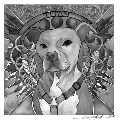 Titan the great Pitbull dog painting
