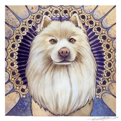 Chow Chow dog portrait painting Los Angeles